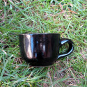 Hrníček černý espresso s podšálkem